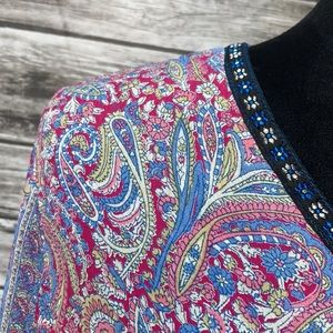 Andrew & Co. Blue/Pink Paisley Blouse w/Bell Cuff
